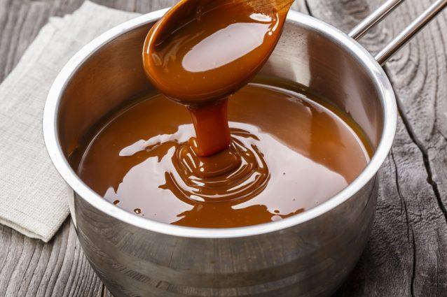 liquid caramel in a saucepan