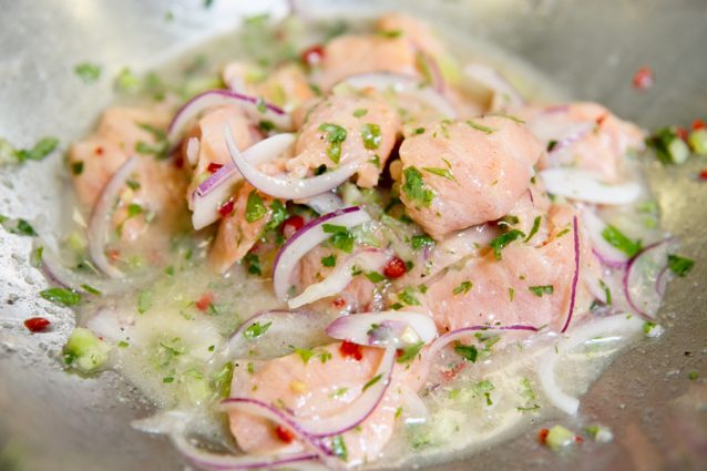 Ceviche marinated in pot
