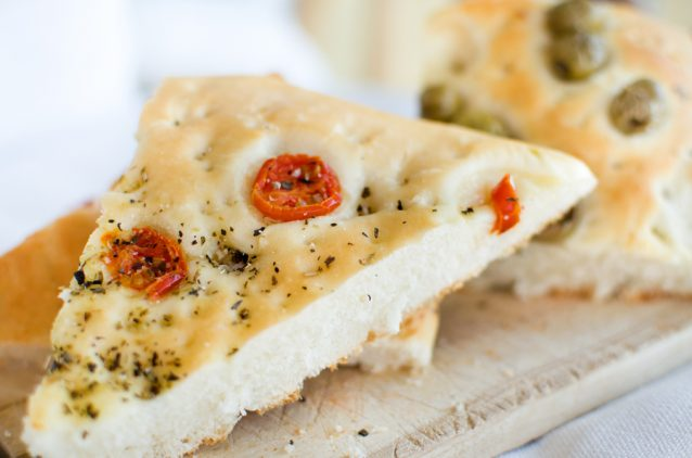 flatbread italy focaccia tomatoes olives flat oven baked Italian
