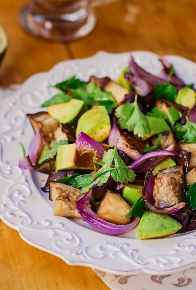 Eggplant (Aubergine) and Avocado Salad
