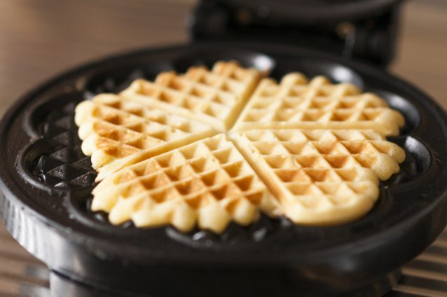Waffles with a waffle iron.a