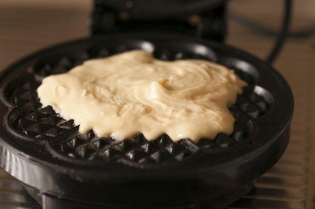 Waffles with a waffle iron.
