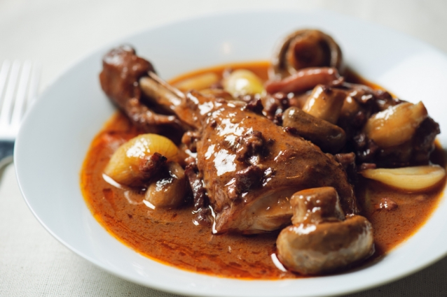 Coq au vin on plate