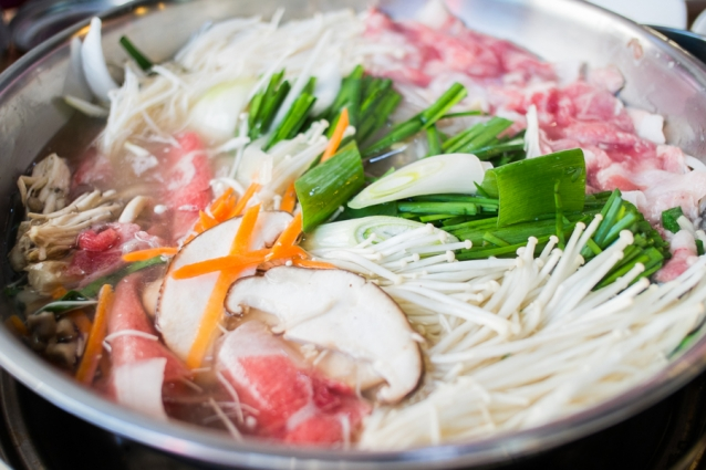 korean shabu - slice pork and vegetable boil in soup
