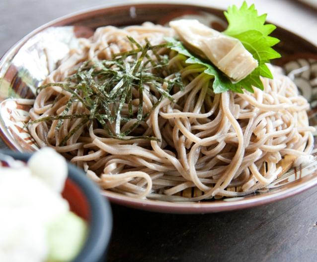 Soba noodles stock