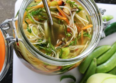 potted noodles with vegetables