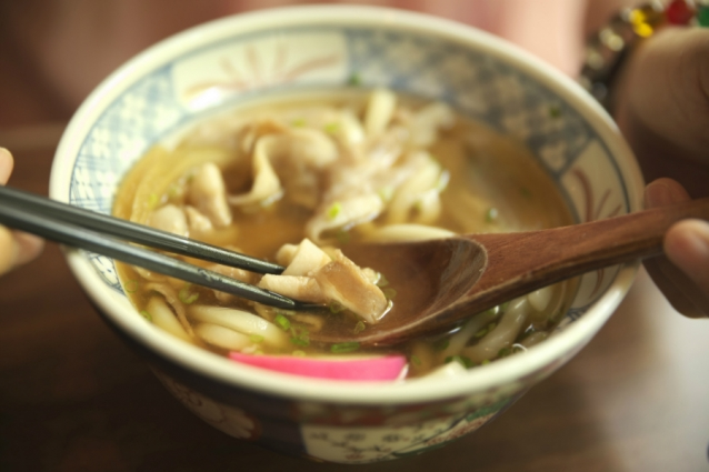 Udon noodles stock