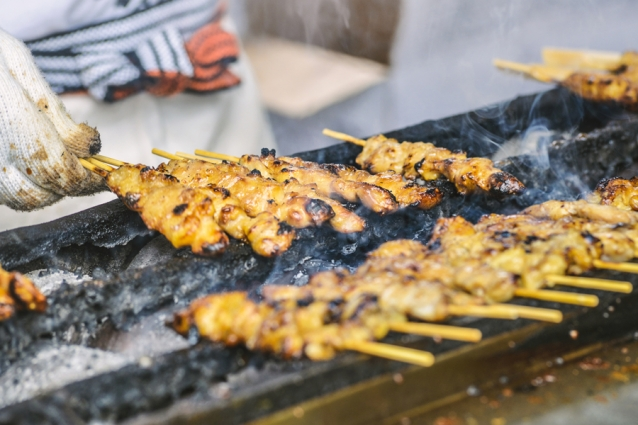 Cooking Yakitori on stall