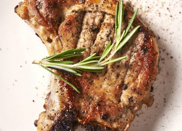 grilled pork chop. top view