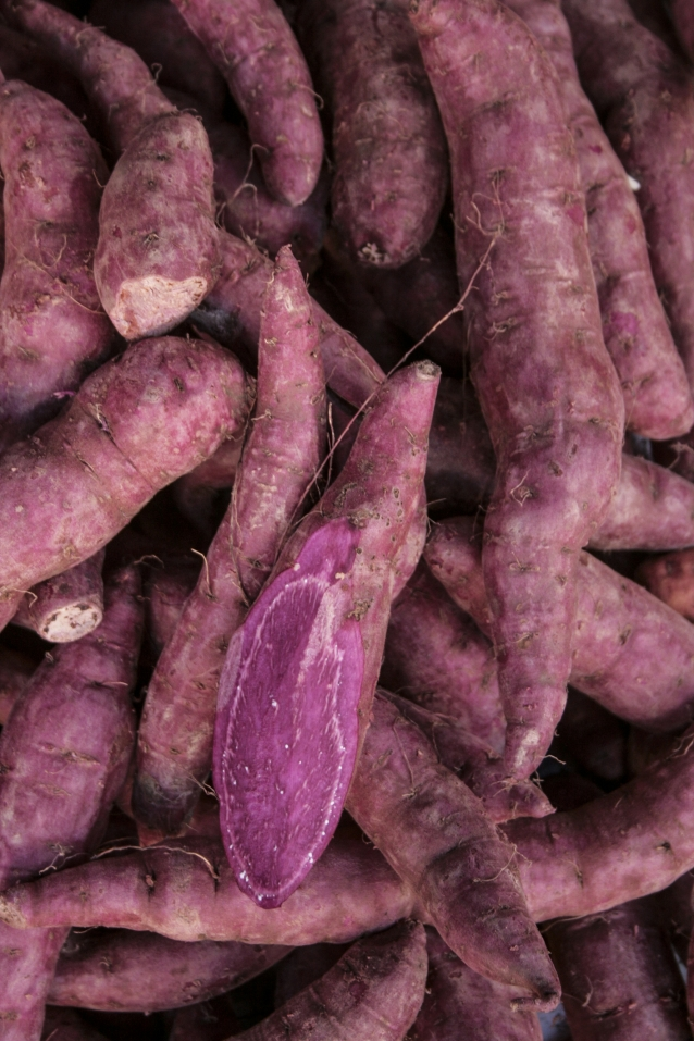 purple taro for sell in the market