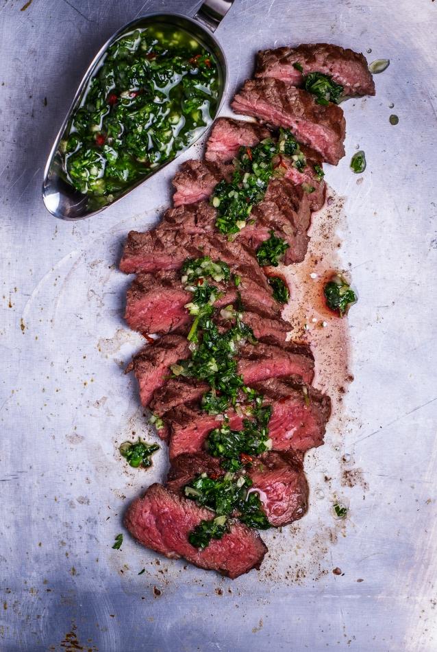 Stock chimichurri steak