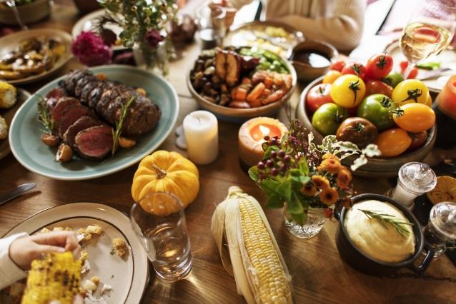 Stock potluck feest tafel