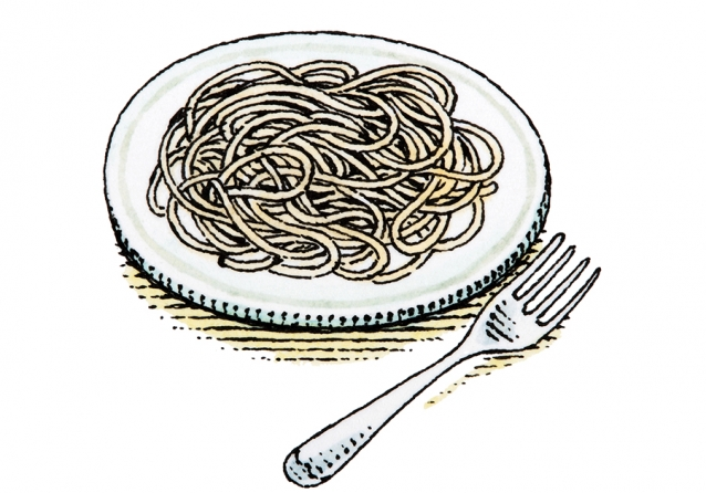 Illustration of plate of spaghetti with fork