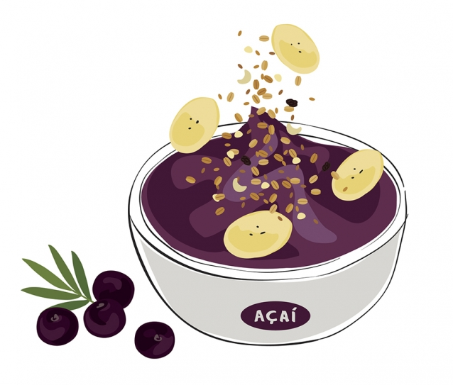 illustration of an acai bowl with granola and banana