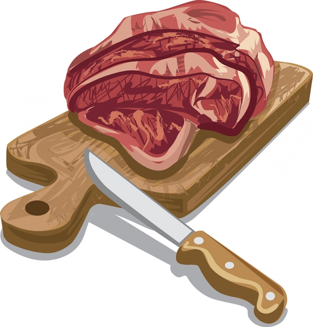 illustration of raw sliced meat for cooking on wooden board