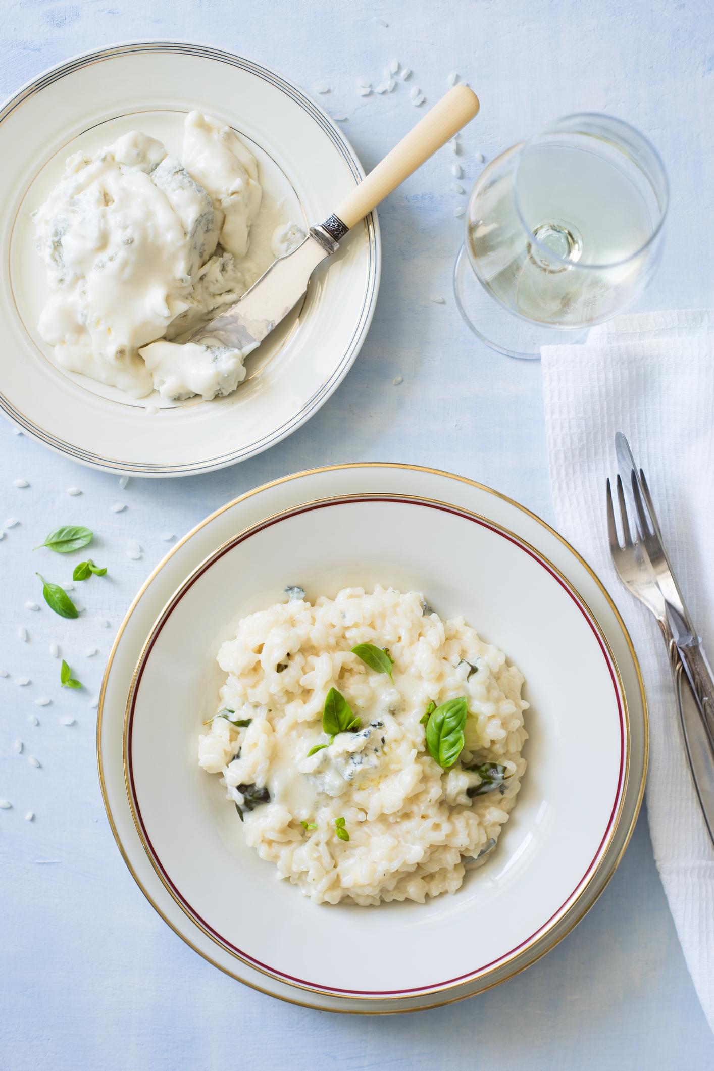 Gorgonzola en risotto met basilicum
