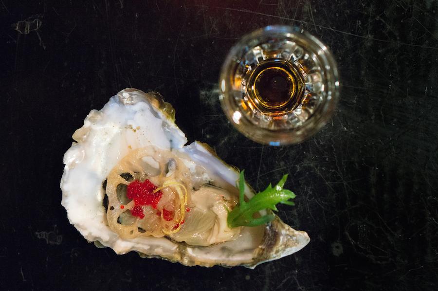 oester en Japanse azijn