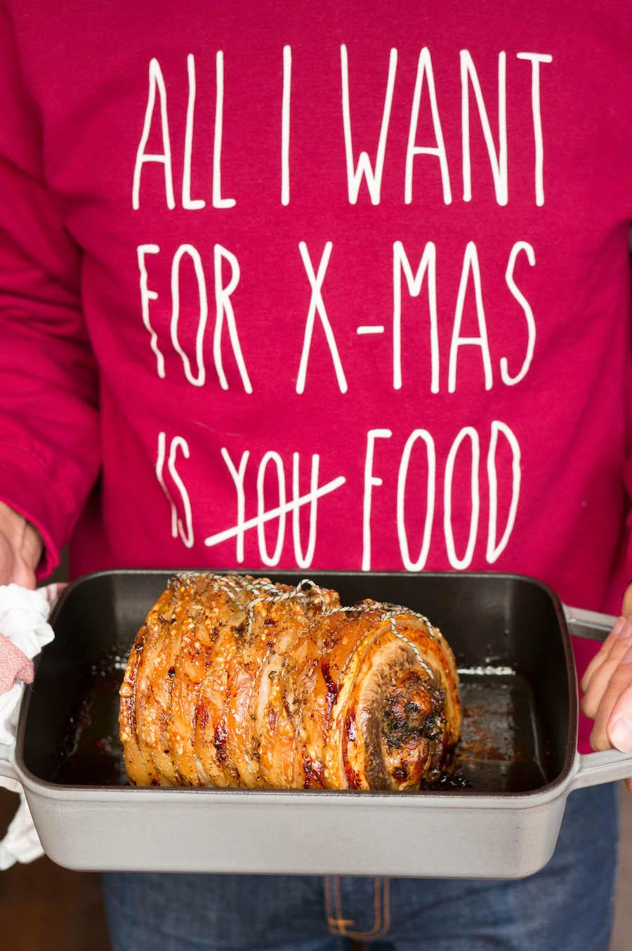 porchetta / gebraden vlees voor Kerst