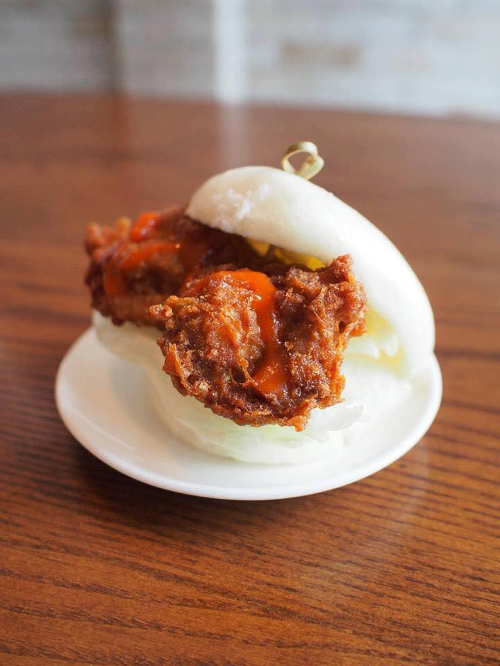The Dirty Chicken Club bao met fried chicken