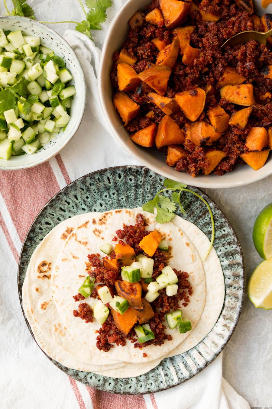 taco's met zoete aardappel en chorizo