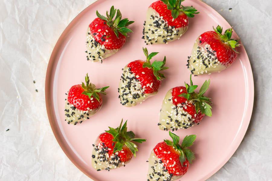 Aardbeien met een chocoladelaagje