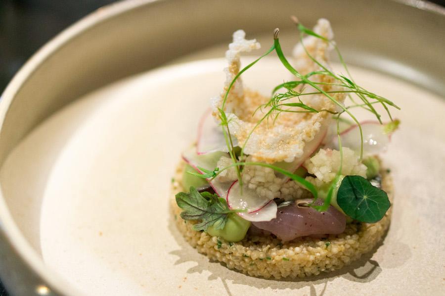 Rauwe makreel met quinoa en gepofte rijstwafel bij Bluespoon