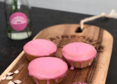 Vegan roze koeken bij Rainbowls