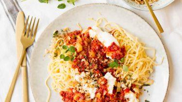 snelle pasta bolognese met chorizo
