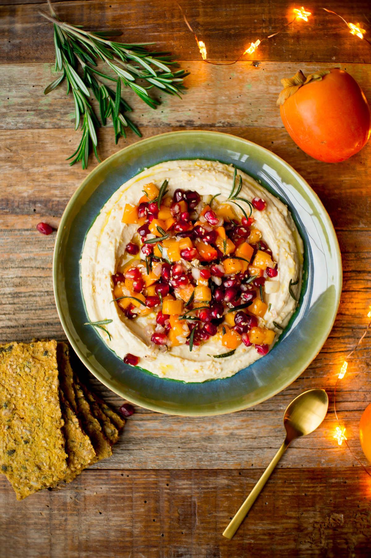 Kerst hummus voor bij de borrel