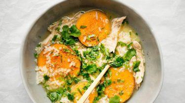 Snelle kippensoep met rijst