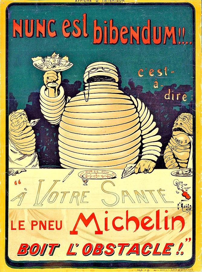 Poster met Michelin-mannetje dat een toost maakt