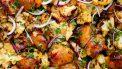 Kip met bloemkool en mangochutney van de bakplaat
