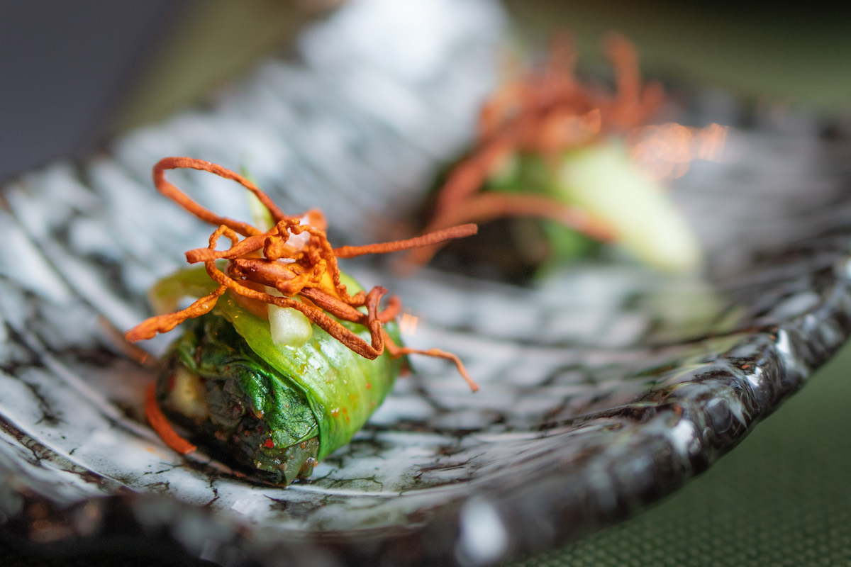Kimchi van kailan met komkommer