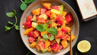 Hartige Aziatische meloensalade