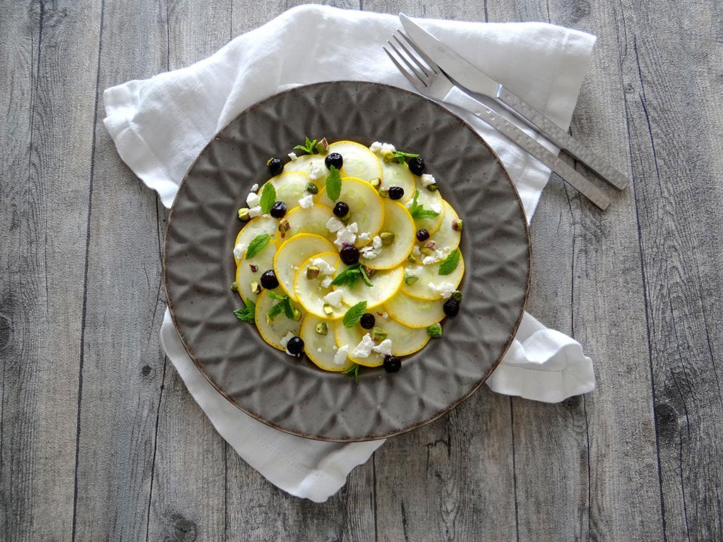 carpaccio van gele courgette met feta