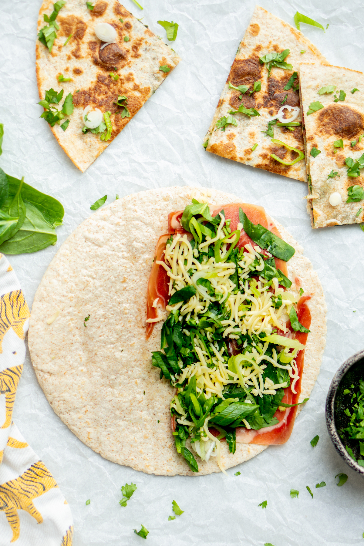Quesadillas met spinazie