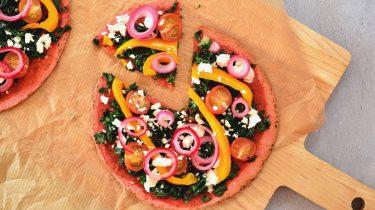 Tortilla Pizza met boerenkool en feta