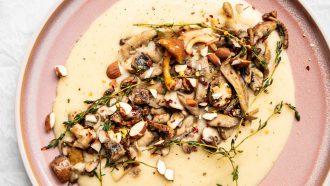 Polenta met paddenstoelen