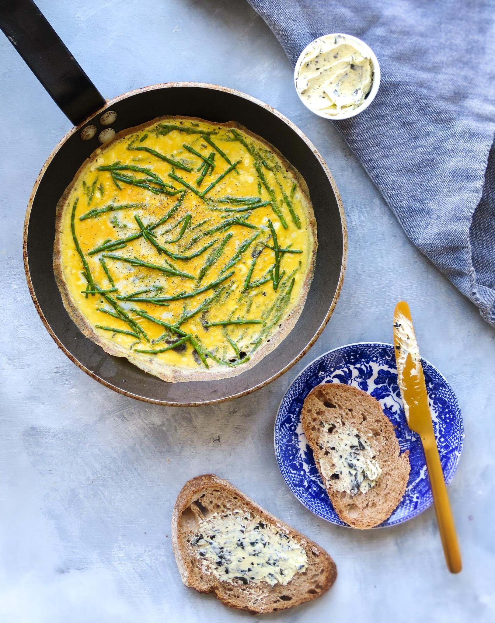 omelet met zeekraal
