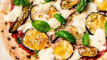 miso aubergine pizza