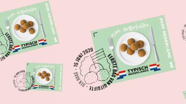 postzegel met bitterballen